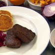 Spiced Venison, Sweetcorn Pancakes, Cabbage and Wild Mushrooms