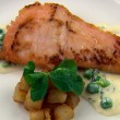 Machrie River Salmon with Wild Sorrel, Sauté Potatoes and Peas