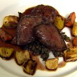Roast Pigeon, Roast Vegetables, Savoury Lentils and Pigeon Burger