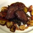 Roast Pigeon, Roast Vegetables, Savoury Lentils and Pigeon Burger