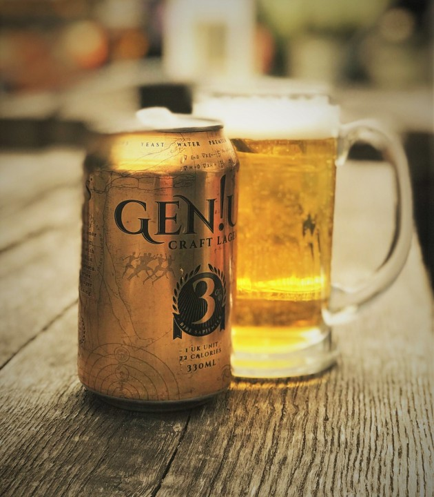 Gen!us Craft Lager can and glass